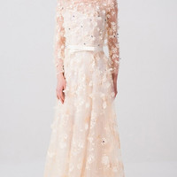 Illusion Yoke Lace Column Gown