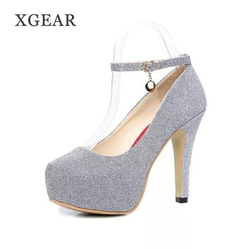 XGEAR Fashion Women Pumps Sexy High Heels Wedding Party Prom Evening Ankle Strap Shoes Stiletto Heel Platform OL Suede Shoes