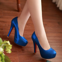 Big Size 34-42 New Fashion women Sexy Red Bottoms round toe high heels Platform Wedding Party Shoes Women spring summer Pumps