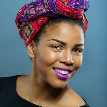 Wax print  Head wrap (Purple Only)