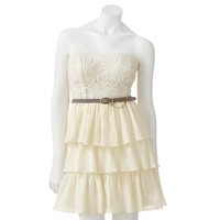 City Triangles Lace Tiered Dress - Juniors