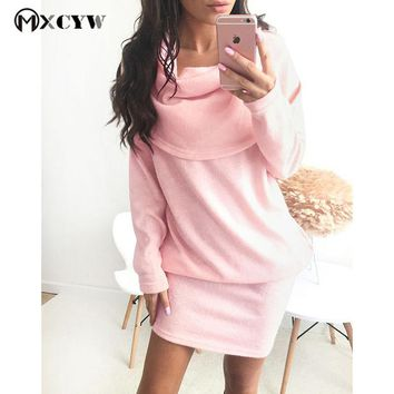 Winter Dress Female Fashion Elegant Warm Loose Long Sleeve Dresses For Women Solid Anti-Collar Large Size For Women Clothing