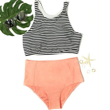 Give the Summer a Hit Striped Top and Orange Bottom Bikini sets
