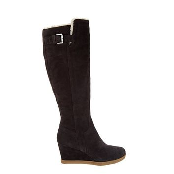 Isaac Mizrahi Live! Suede Wedge Tall Boots With Faux Fur, Dark Brown