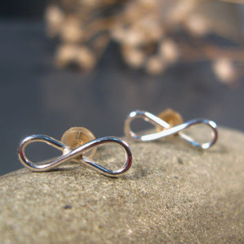 Silver stud earrings, Infinity stud earrings, infinity earrings sterling silver, small post earrings, everyday jewelry