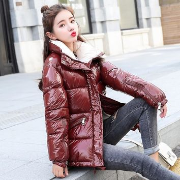 NIJIUDING New Fashion Metal Solid Black Red Bright Jackets Coats Women's Winter Warm Down Cotton Padded Long Parkas Outwear