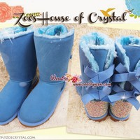 NEW STYLE - Bling and Sparkly Blue SheepSkin Wool BOOTS w shinning Czech or Swarovski Crystals - ZoeCrystal