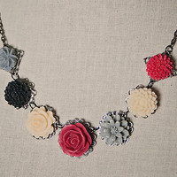 Handmade Red Resin Flower Necklace Red Grey Flower Bib Necklace Ivory Red Rose Necklace