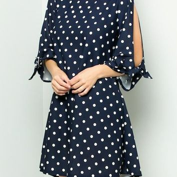 Polka Dot Cut Out Sleeves Short Dress