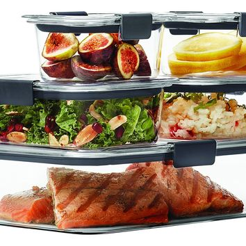 Rubbermaid Brilliance Food Storage Container 10-Piece Set 100% Leak-Proof Plastic Clear