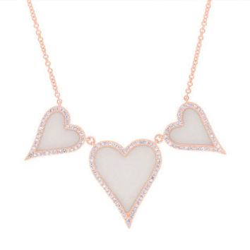 0.30ct Diamond & 2.70ct Pink Opal 14k Rose Gold Heart Necklace