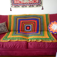 Vintage Crochet Square Knit Afghan Blanket Throw '70s