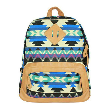 Aztec Chevron Canvas Backpack Campus School Bookbag