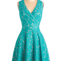 ModCloth Mid-length Sleeveless A-line Labyrinthine Lace Dress in Teal