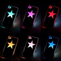 Star Sense Flash light Case Cover for Apple iPhone 4 4S 4G LED LCD 6 Color Changed