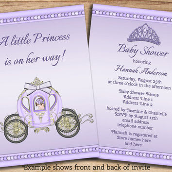 Printable Princess Girls Purple Baby Shower Invites Double Sided Cute DIY JPEG Affordable Custom Personalized Invitations - Changes are FREE