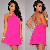 Pink Strappy Halter Skater Dress