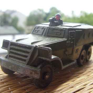 Vintage Russian Car Military Toy Armored Troop Carrier Collectable Toy Made of Metal in USSR in 1970s.