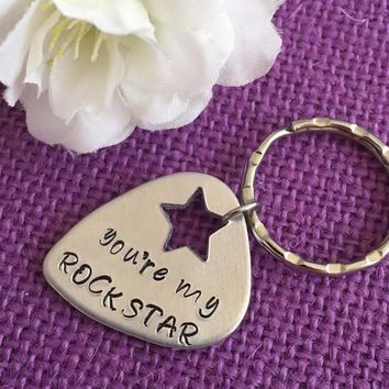 Personalized Guitar Pick Keychain - Personalized Keychain - You're My Rockstar - Gift for Teen - Personalized Gift - Custom Keychain