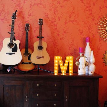 "12"" Small Letter M Lighted Vintage Marquee Letters (Rustic)"
