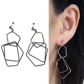 Long Silver Hoop Invisible Clip on Earrings Dangle Pentagon Clip on Hoop Earrings Modern Geometric Clip-on Non Pierced Earrings Gift For Her