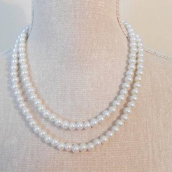 Pearl necklace: Two strand white glass pearls, unique for wedding, Bridesmaid Gifts, Mother of the Bride, Teacher, Birthday, Mum jewelry