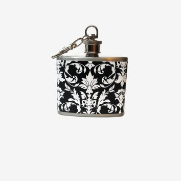 Stainless Steel Hip Flask with white and black damask wrap - 4oz 6oz 2oz 1oz