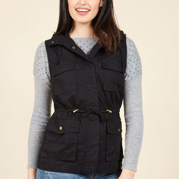 High-Trail It Outta Here Vest in Black | Mod Retro Vintage Vests | ModCloth.com