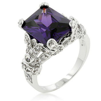 Mina Vintage Amethyst Radiant Cut Cocktail Ring | 8ct | Cubic Zirconia