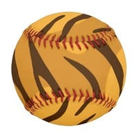 Amber Orange Brown Tiger Skin Pattern Baseball