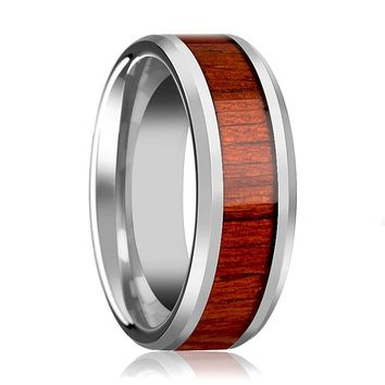 Tungsten Wood Ring - Padauk Real Wood - Tungsten Wedding Band - Polished Finish - 6mm - 8mm - 10mm - Tungsten Wedding Ring