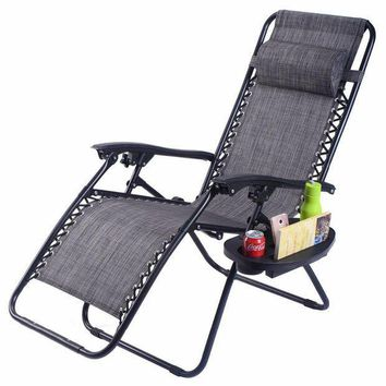 CREYLD1 Guplus Folding Zero Gravity Chair Outdoor Picnic Camping Sunbath Beach Chair with Utility Tray Reclining Lounge Chairs OP3026