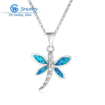 925 Sterling Silver Dragonfly Blue Opal Pendant Rhinestone Charm Necklace