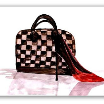 Louis vuitton neverfull, speedy authentic, lv Wall Art, decor, watercolor painting, decal  decals, print, chanel, hand bag, shoes, heel, red
