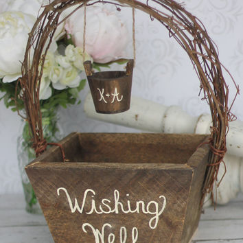 wedding guest book alternative wedding rustic personalized wishing well basket