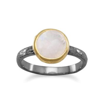 Two Tone Faceted Rainbow Moonstone Ring