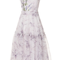 Sleeveless Printed Silk Organza Dress | Moda Operandi