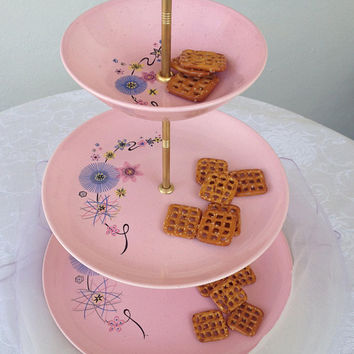 Serving Tray / Display Tray / Vanity Tray / Vintage Atomic Tray / Pink serving tray / Atomic Era / Easter Dessert Serving Tray