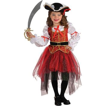 Infantil Kids Child Girls Pirate Costume Carnival Halloween Princess Fairy Fancy Dress up Royal Cosplay Dress with Hat Belt