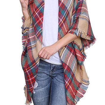 Plaid Knit Scarf