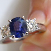 5.10ct Cushion Sapphire Diamond Engagement Ring JEWELFORME BLUE 18kt White Gold