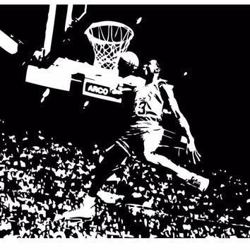 Michael Jordan Chicago Bulls Basketball Dunk Dorm Decor Silhouette WALL ART STICKER VI