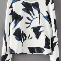 White Floral Long Sleeve Cropped Sweatshirt