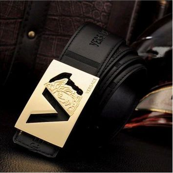PEAPUF3 VERSACE Woman Fashion Smooth Buckle Belt Leather Belt G-A-GFPDPF