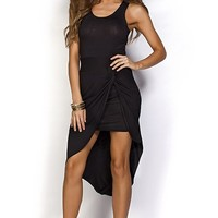 Anna Black Knotted Casual Asymmetrical High Low Tank Dress