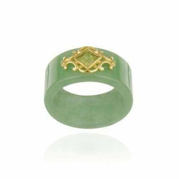 18K Gold Over Sterling Silver Genuine Green Jade & Peridot Band Ring