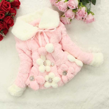 Baby Kids Girls Winter Flowers Faux Fur Cotton Thick Coat Outerwear Jacket   2 = 1932341188