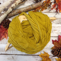 CUDDLY - cable infinity scarf - mustard
