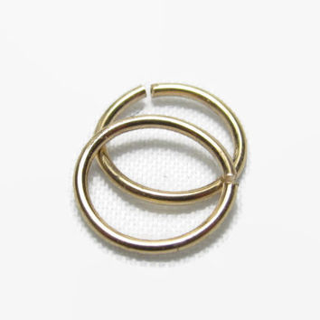 Set of 2, 12 to 24 Gauge, Gold Nose Ring, Gold Hoop Nose Ring, Cartilage Hoop Earring, Septum Ring, 12g 14g 16g 18g 20g 22g 24g
