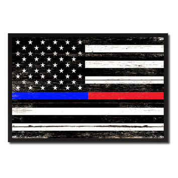 Thin Blue Line Police & Thin Red Line Firefighter Respect & Honor Law Enforcement First Responder American USA Flag Vintage Canvas Print with Picture Frame Home Decor Man Cave Wall Art Collectible Decoration Artwork Gifts